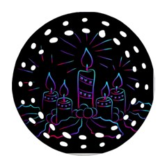 Advent Wreath Candles Advent Round Filigree Ornament (two Sides)