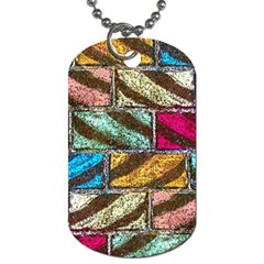 Colorful Painted Bricks Street Art Kits Art Dog Tag (one Side) by Costasonlineshop