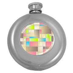Background Abstract Grid Round Hip Flask (5 Oz) by Nexatart