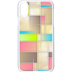 Background Abstract Grid Apple Iphone X Seamless Case (white) by Nexatart
