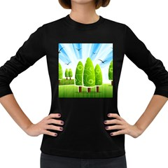Landscape Nature Background Women s Long Sleeve Dark T Shirts