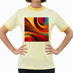 Abstract Colorful Background Wavy Women s Fitted Ringer T Shirts by Nexatart