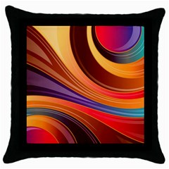 Abstract Colorful Background Wavy Throw Pillow Case (black) by Nexatart