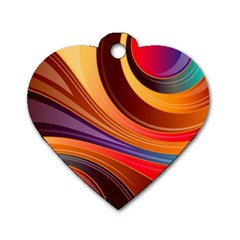 Abstract Colorful Background Wavy Dog Tag Heart (one Side)