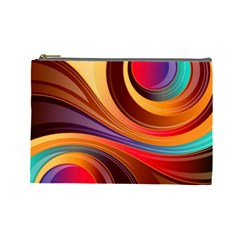 Abstract Colorful Background Wavy Cosmetic Bag (large)  by Nexatart