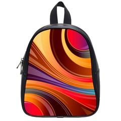 Abstract Colorful Background Wavy School Bag (small)