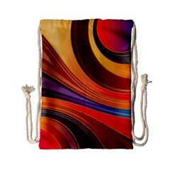 Abstract Colorful Background Wavy Drawstring Bag (small)