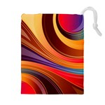 Abstract Colorful Background Wavy Drawstring Pouches (Extra Large) Front