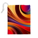Abstract Colorful Background Wavy Drawstring Pouches (Extra Large) Back