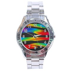 Colorful Background Stainless Steel Analogue Watch