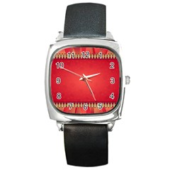 Background Red Abstract Square Metal Watch