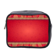 Background Red Abstract Mini Toiletries Bag 2 Side