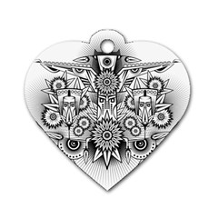 Forest Patrol Tribal Abstract Dog Tag Heart (two Sides) by Nexatart