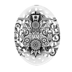 Forest Patrol Tribal Abstract Oval Filigree Ornament (two Sides)