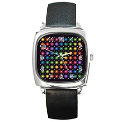 Background Colorful Geometric Square Metal Watch