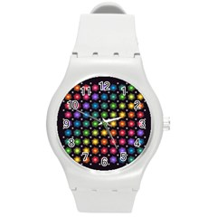 Background Colorful Geometric Round Plastic Sport Watch (m) by Nexatart