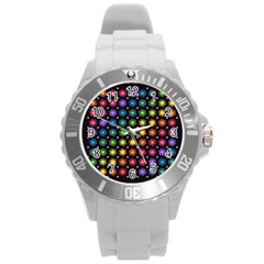 Background Colorful Geometric Round Plastic Sport Watch (l)
