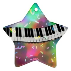 Piano Keys Music Colorful 3d Ornament (star) by Nexatart