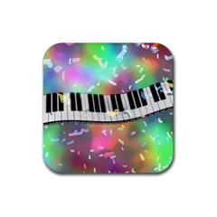 Piano Keys Music Colorful 3d Rubber Square Coaster (4 Pack)  by Nexatart