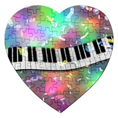 Piano Keys Music Colorful 3d Jigsaw Puzzle (heart)