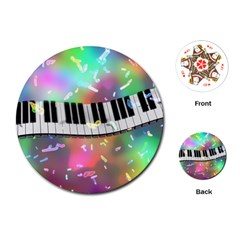 Piano Keys Music Colorful 3d Playing Cards (round)  by Nexatart