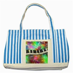 Piano Keys Music Colorful 3d Striped Blue Tote Bag by Nexatart
