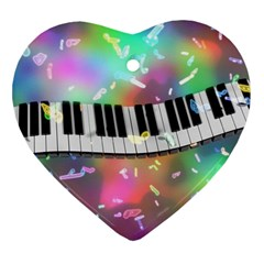Piano Keys Music Colorful 3d Heart Ornament (two Sides) by Nexatart