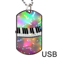 Piano Keys Music Colorful 3d Dog Tag Usb Flash (one Side) by Nexatart