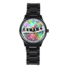 Piano Keys Music Colorful 3d Stainless Steel Round Watch by Nexatart