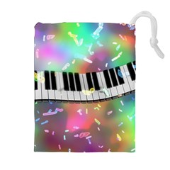Piano Keys Music Colorful 3d Drawstring Pouches (extra Large) by Nexatart