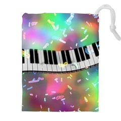 Piano Keys Music Colorful 3d Drawstring Pouches (xxl) by Nexatart