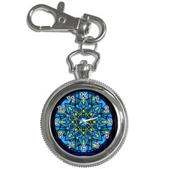 Mandala Blue Abstract Circle Key Chain Watches by Nexatart
