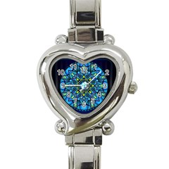 Mandala Blue Abstract Circle Heart Italian Charm Watch by Nexatart