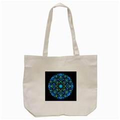 Mandala Blue Abstract Circle Tote Bag (cream)