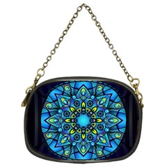 Mandala Blue Abstract Circle Chain Purses (two Sides)  by Nexatart