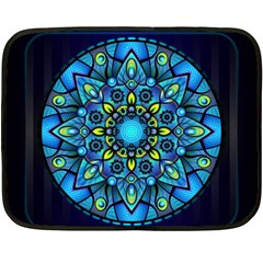 Mandala Blue Abstract Circle Double Sided Fleece Blanket (mini)