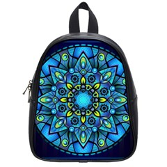Mandala Blue Abstract Circle School Bag (small)