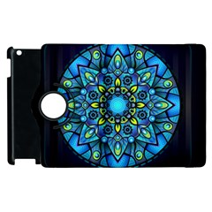 Mandala Blue Abstract Circle Apple Ipad 2 Flip 360 Case