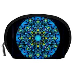 Mandala Blue Abstract Circle Accessory Pouches (large)  by Nexatart