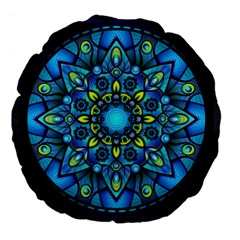 Mandala Blue Abstract Circle Large 18  Premium Flano Round Cushions