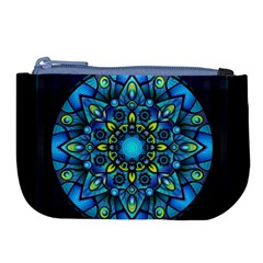 Mandala Blue Abstract Circle Large Coin Purse by Nexatart
