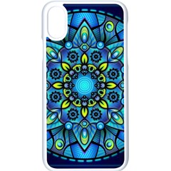 Mandala Blue Abstract Circle Apple Iphone X Seamless Case (white)