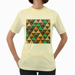Abstract Geometric Triangle Shape Women s Yellow T Shirt