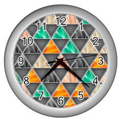 Abstract Geometric Triangle Shape Wall Clocks (silver)  by Nexatart