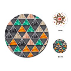 Abstract Geometric Triangle Shape Playing Cards (round)  by Nexatart