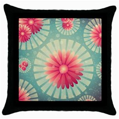 Background Floral Flower Texture Throw Pillow Case (black) by Nexatart