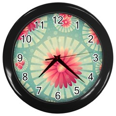 Background Floral Flower Texture Wall Clocks (black) by Nexatart