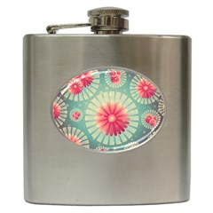 Background Floral Flower Texture Hip Flask (6 Oz) by Nexatart