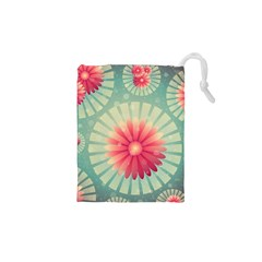 Background Floral Flower Texture Drawstring Pouches (xs)  by Nexatart
