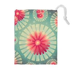 Background Floral Flower Texture Drawstring Pouches (extra Large) by Nexatart